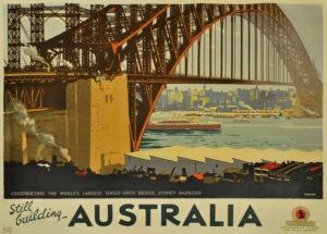 Percy Trompf Constructing the world's largest single-arch bridge, Sydney Harbour, c1931, colour litho,101.2 x127cm. Courtesy Josef Lebovic Gallery, Sydney