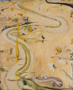 Brett Whitely Summer at Carcoar 1977 oil & mixed media on pineboard 244x198 cm. Coll Newcastle Region Art Gallery, Gift of Dr William Bowmore AO. Image courtesy Newcastle Region Art Gallery