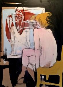 Henry Curchod Daring bride of bipolar 2014, oil & enamel on board. Image courtesy the artist