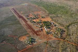 Aerial shot, flying into Lajamanu, NT
