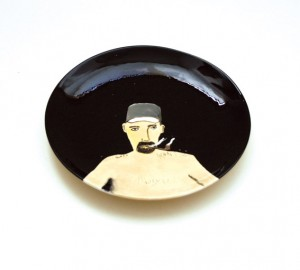 Noel McKenna A hairy work of art 2009 painted ceramic plate dia 18.5cm. Image courtesy the artist and Darren Knight Gallery, Sydney