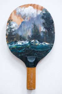 Paul Ryan Ping pong landscape 6, 2014. oil on vintage pingpong bat. Image courtesy the artist and Olsen Irwin