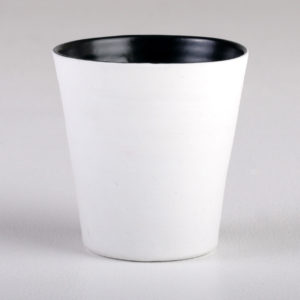 Davidoff black glazed porcelain beaker. Image courtesy the artist and Planet Furniture