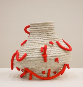 Glenn Barkely Fat basket pot with fluoro extrusions. 2014. clay. 28x31x26cm. Image courtesy the artist and Utopia Art Sydney
