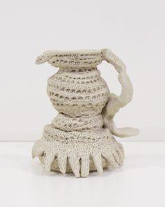 Glenn Barkley Libations pot with cactus forms, 2014-15. clay. 13x10.5x11cm. Image courtesy the artist and Utopia Art Sydney