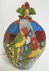 Rahel Ungwanaka Kngwarria Two lorikeets 2009. Image courtesy the artist and Annette Larkin Fine Art