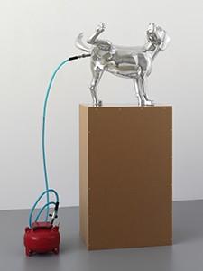 Richard Jackson Bad dog (blue) 2007. aluminium, hardware, MDO,formica. overall 177x76x62.5cm. Image courtesy the artist and Bathurst Regional Art Gallery