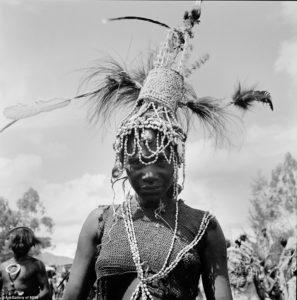 A Benabena dancer with headdress as worn by widows/ widowers, 1977 Goroka Show. Image courtesy AGNSW