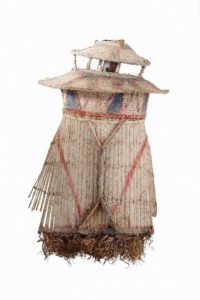 2.Rimbu headdress Kagua-Erave District, Southern Highlands Province, Papua New GuineaKewa people, coil woven rattan, bamboo, plant fibres, metal '7UP' drink can, white clay, red and blue pigments 77x48x45cm Coll: AGNSW, Gift of Stan Moriarty 1977