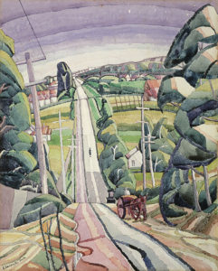 Grace Cossington Smith, Eastern Road, Turramurra c. 1926 , watercolour over pencil on paperboard National Gallery of Australia, Canberra  Bequest of Mervyn Horton 1984