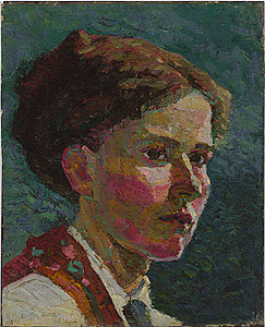 Grace Cossington Smith Study of a head: self portrait 1916  oil on canvas on board  The Holmes à Court Collection,  Heytesbury Pty Ltd, Perth
