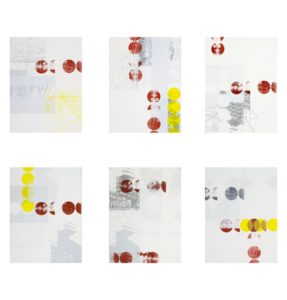 Sarah Robson, Spatial Equilibrium (Constraints), 2014. silkscreen monoprint. Acrylic with Lasceaux paste on stonehenge paper, 75x57cm. Image courtesy the artist