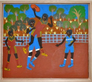 Louise Daniels Sports weekends at Laramba, playing papunya acrylic on metal 24x21cm. Image courtesy the artist and Aboriginal and Pacific Art Gallery, Sydney