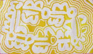 Mona Napaljarri Rockman Budgerigar Dreaming 2009 85x50cm. Image courtesy the artist and Cooee Art