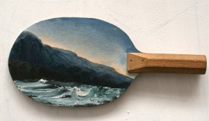 Paul Ryan Ping pong landscape  2014. oil on vintage ping pong bat. Image courtesy the artist and Olsen Irwin