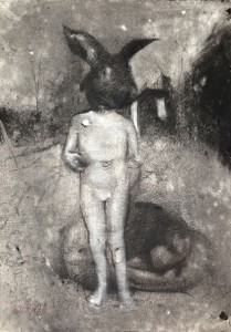 Anton Pulvirenti Starry night 2 2014 charcoal on paper 42x30cm. Image courtesy the artist and Dominik Mersch Gallery