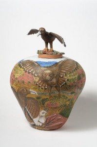 Rahel Ungwanaka Eagle hunting 2009, 56cm ht. Image courtesy the artist and Peter Pinson Art Dealer