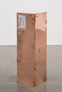 Walead Besthy Copper (FedEx Golf-Bag Box 2010 Fed-Ex 163166 Rev 10/10) ... polished copper, accrued Fed Ex shipping and tracking labels, 38x40x121cm. Image courtesy the artist